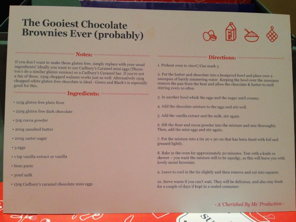 Chocolate brownies recipe card