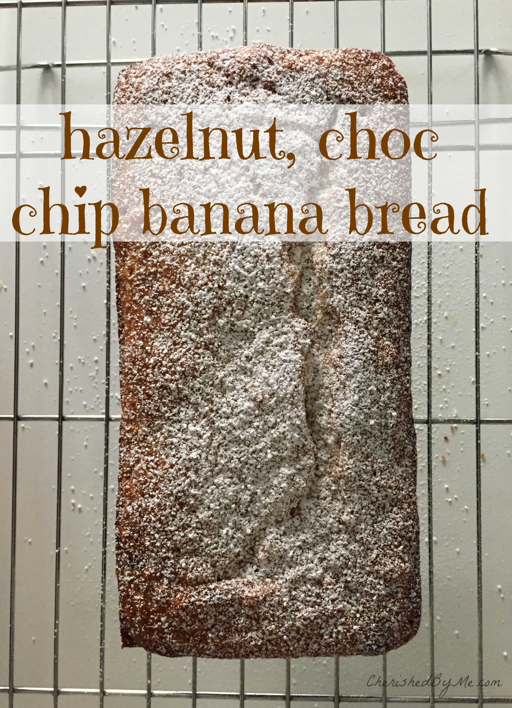 A delicious hazelnut, choc chip banana bread