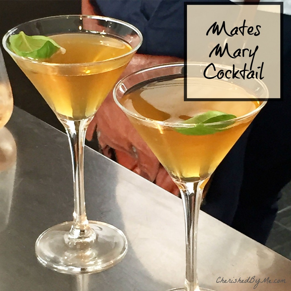 A gorgeous Mates Mary cocktail, the loveliest cocktail on the planet, possibly