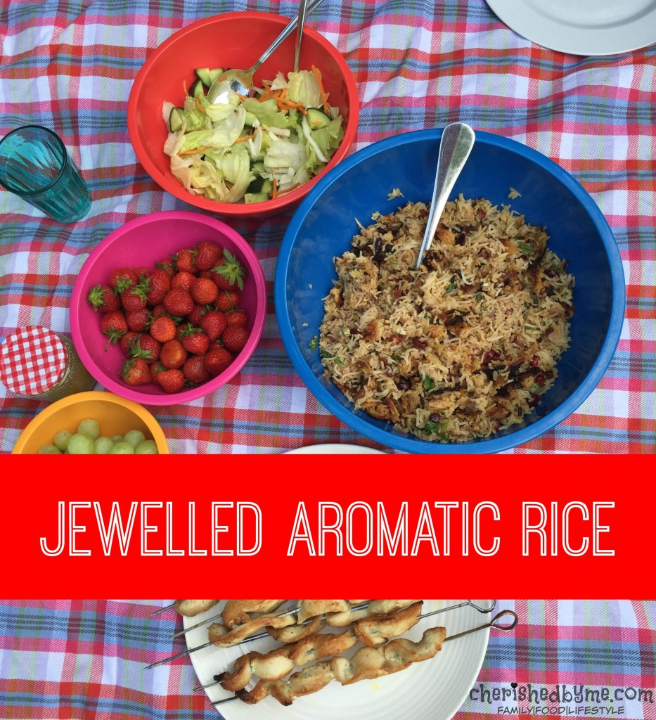 A delicious jewelled aromatic rice with walnuts & pomegranate
