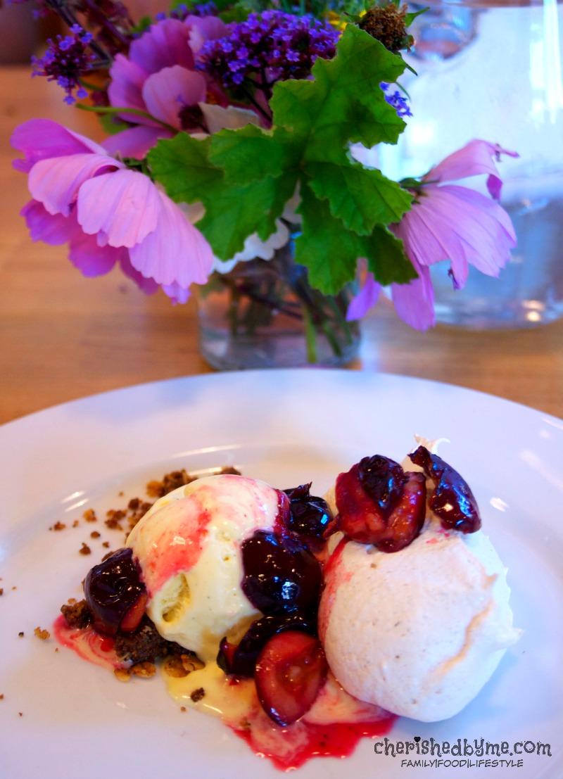 Fennel meringue, honey damsons, ice cream, salted caramel...dessert at River Cottage