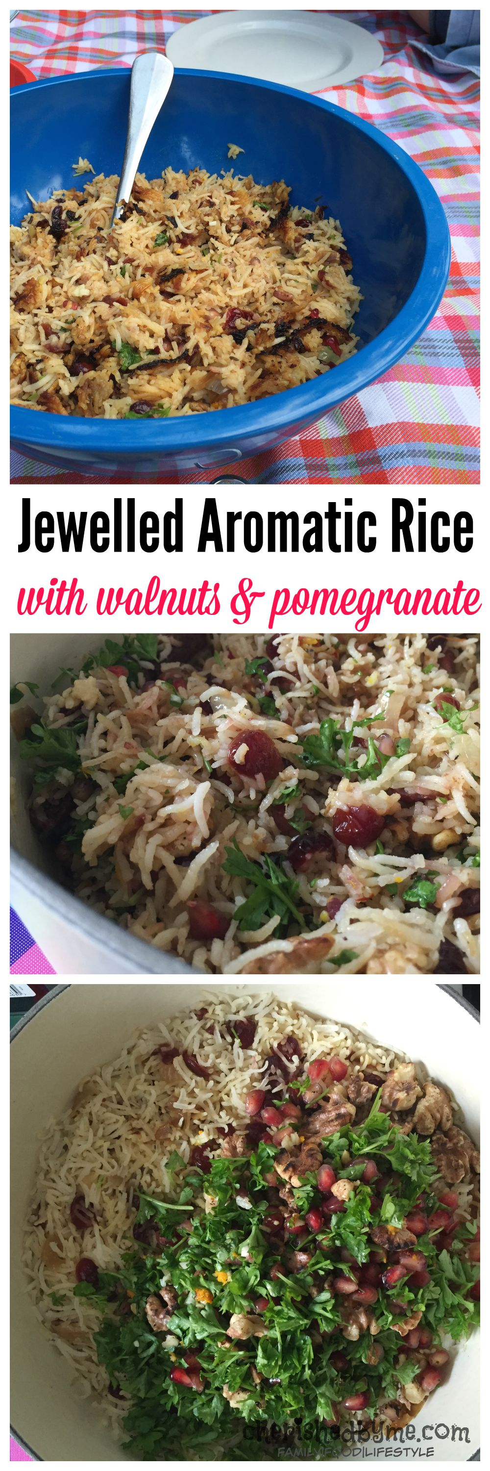 This is an easy but very tasty dish of jewelled aromatic rice with walnuts & pomegranate. With lots of flavour this healthy dish is naturally gluten free