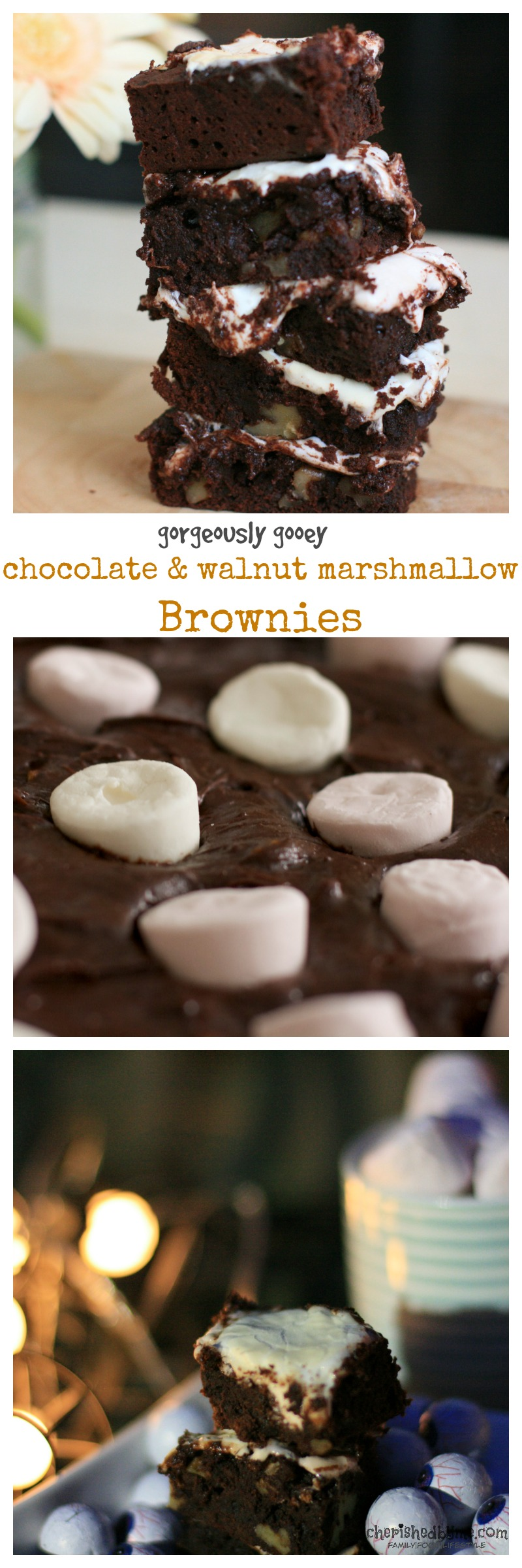 A gorgeously gooey recipe for decadent chocolate & walnut marshmallow brownies. Mmmm