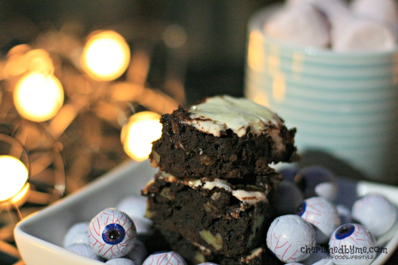 Perfect for sharing, chocolate and walnut marshmallow brownies