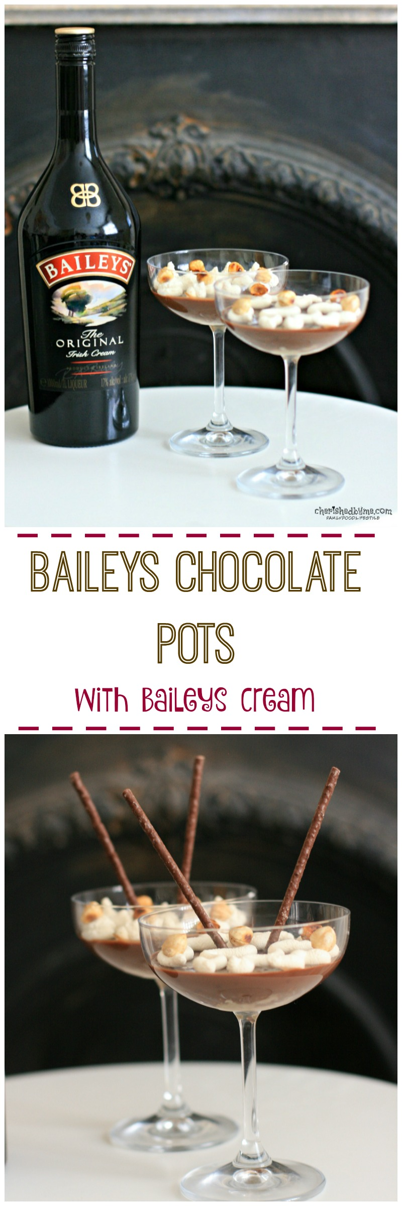 Such a quick and easy recipe for Baileys Chocolate Pots with a Baileys Cream, mmmm - Cherished By Me