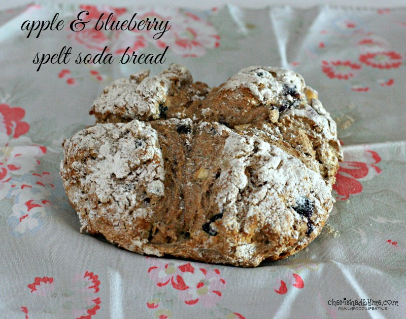 a great tasting and easy bread to make, apple & blueberry spelt soda bread- cherished by me