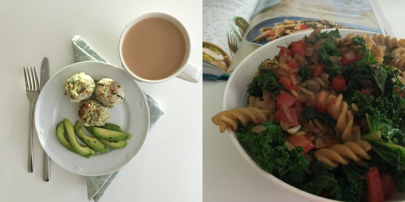 Chicken, courgette, chilli bites & kale pasta salad from Hungry Healthy Happy