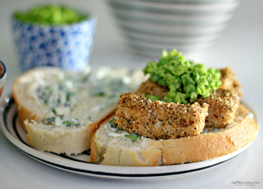 Mmmmm a posh fish finger sandwich with rocket and caper mayo and mushy peas cherishedbyme.com