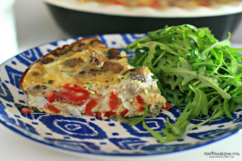 Perfect for breakfast, lunch or dinner, budget friendly and very tasty, a garlic rosemary mushroom and red pepper frittata cherishedbyme.com