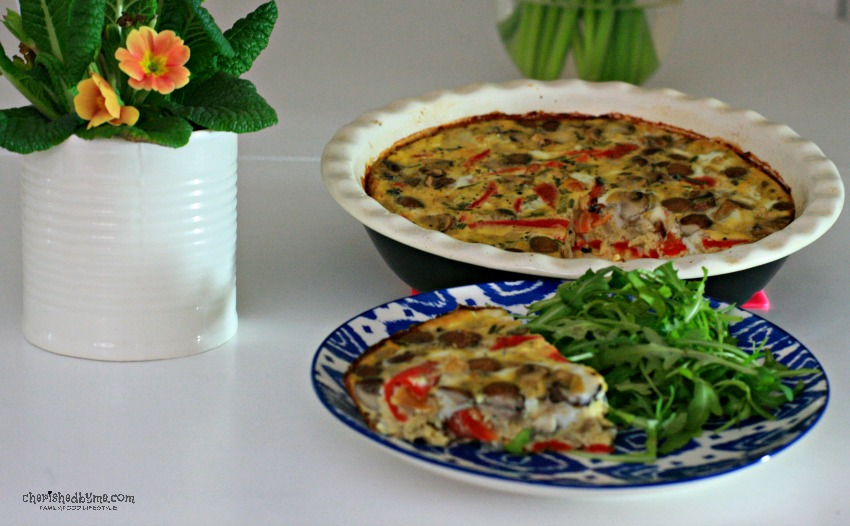 The perfect mid week family supper, good for the purse too- garlic rosemary mushroom and red pepper frittata cherishedbyme.com