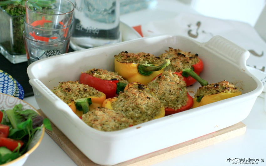A delicious vegetarian meal of Pesto & Pine Nut Rice Stuffed Peppers cherishedbyme.com