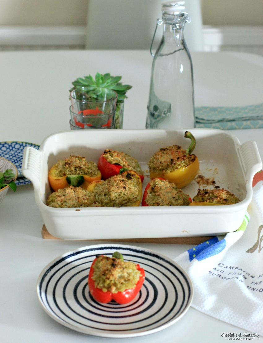 A tasty and healthy meal for the whole family, Pesto & Pine Nut Rice Stuffed Peppers cherishedbyme.com