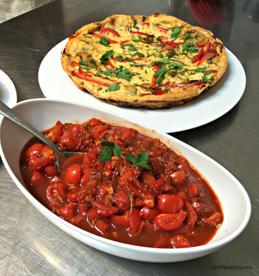 Fritatta and tomatoes at L'atelier des Chefs cherishedbyme.com