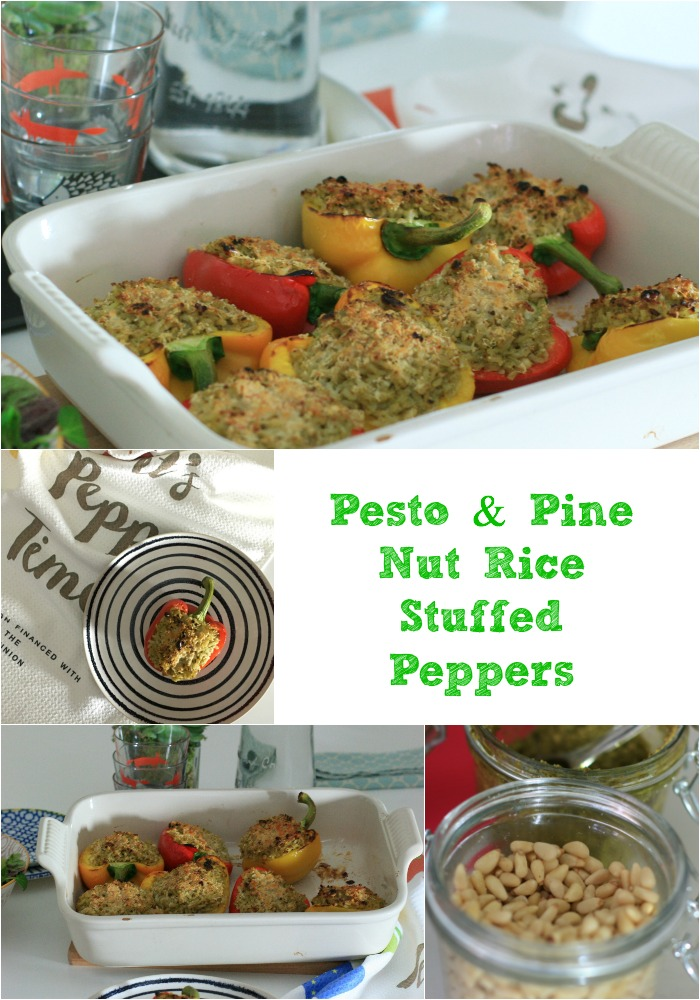 Pesto & Pine Nut Rice Stuffed Peppers- It's Pepper Time! A tasty, very quick and easy vegetarian meal or side which the whole family will love cherishedbyme.com