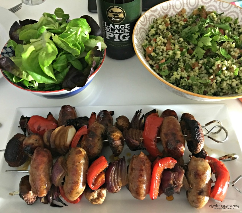 A lovely summer meal perfect for outdoor dining and BBQ's- Beer glazed sausage kebabs and bulgar wheat salad cherishedbyme.com
