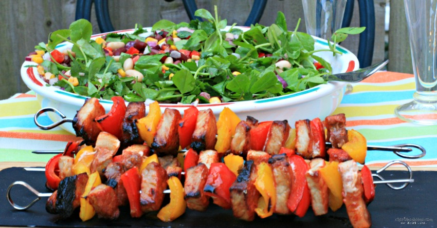 BBQ Pork and Pepper kebabs with a tangy bean salad cherishedbyme.com