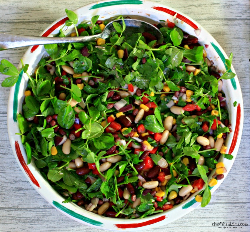 Tangy Mixed Bean Salad, a tasty side for all your summer dishes cherishedbyme.com