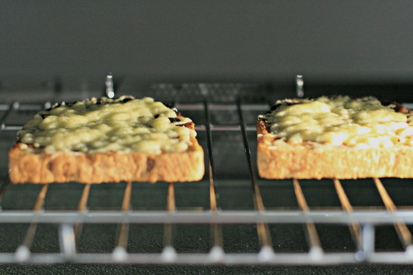 Cheese on toast cooking in the Panasonic Steam Combination Oven cherishedbyme.com