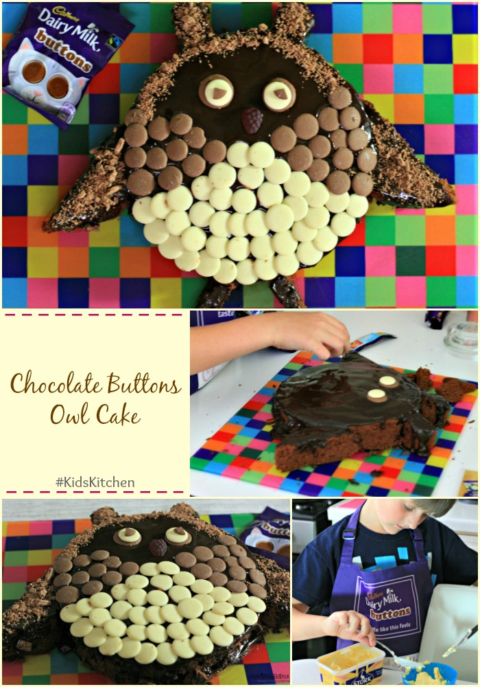 Get your kids into the kitchen to make this really cute chocolate buttons owl cake cherishedbyme.com