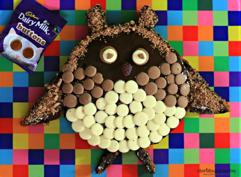 Our cute Cadbury Dairy Milk Buttons Owl Cake
