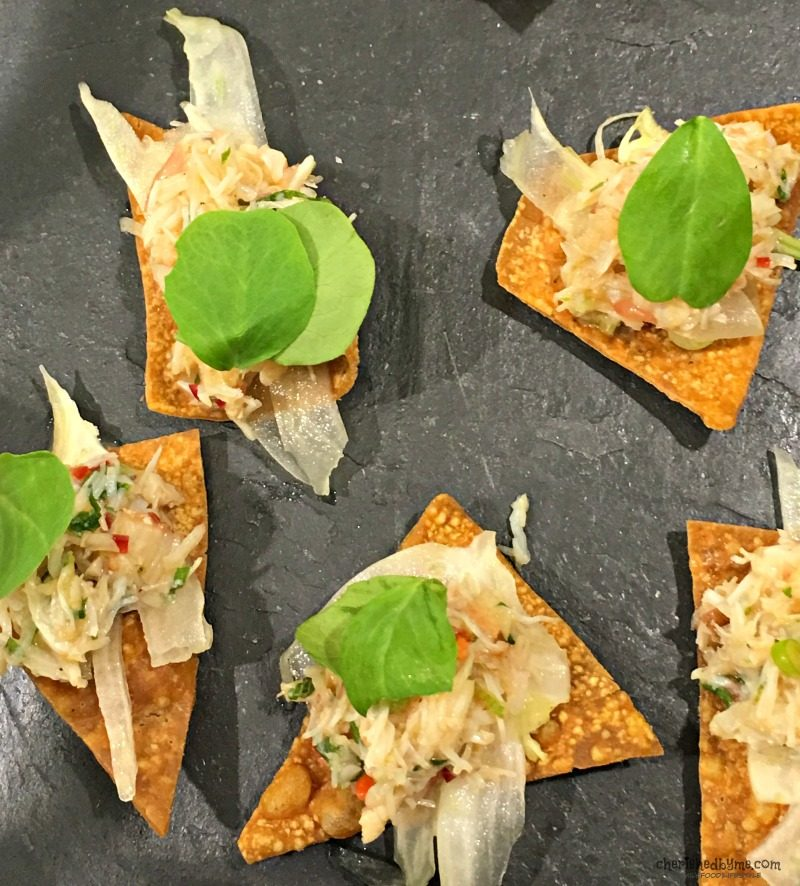 Dressed crab canapes