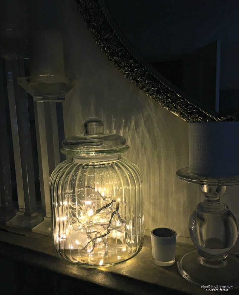 twinkly lights in a jar