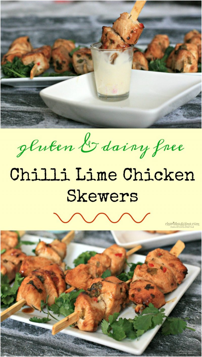 chilli lime chicken skewers