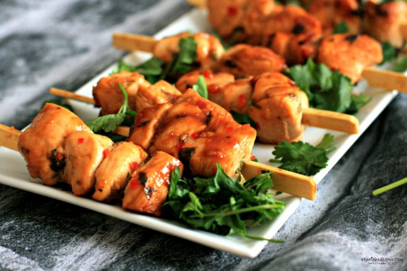 finger food- chilli lime chicken skewers