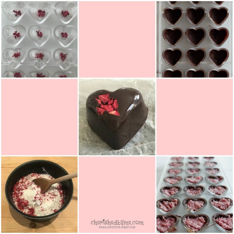 Vegan & Gluten Free Raspberry Coconut Dark Chocolate Hearts | CherishedByMe.com